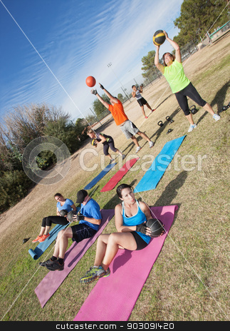 Diverse Boot Camp Fitness Class stock photo, Diverse group of men and woman in boot camp fitness class by Scott Griessel