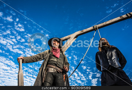 Western Man Awaits Execution  stock photo, Western Man Awaits Execution of Being Hung From the Neck At Gallows by Scott Griessel