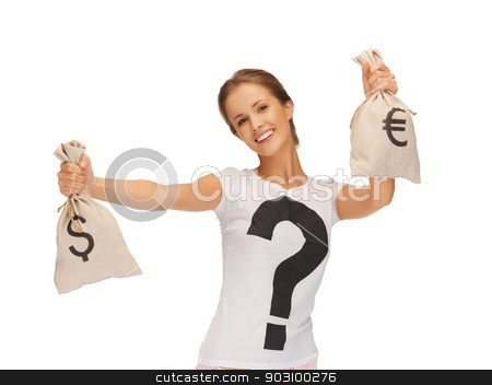 woman with dollar and euro signed bags