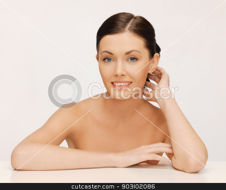 face and hands of beautiful woman