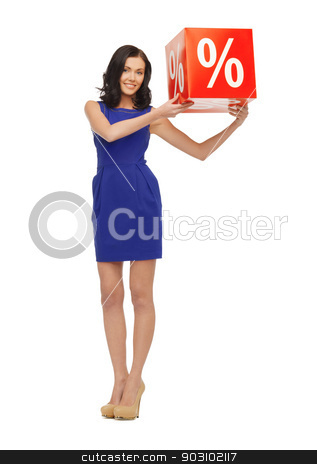 lovely woman in blue dress with percent sign