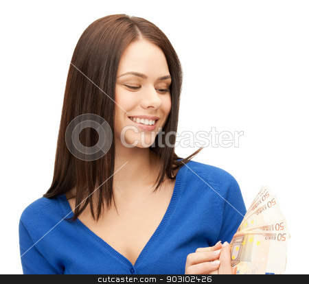 woman with euro cash money