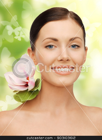 lovely woman with lily flower and butterflies