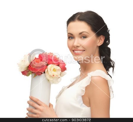 woman with vase of flowers