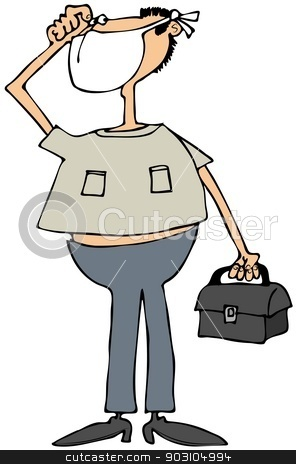 Quarantine man stock photo, This illustration depicts a man wearing a face mask and carrying a black box. by Dennis Cox