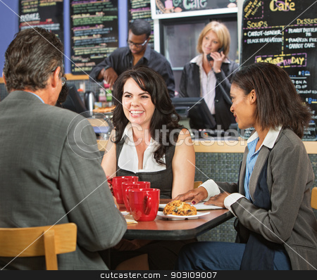 Happy Business People in Cafe stock photo, Happy business executives taking a break in cafeteria by Scott Griessel