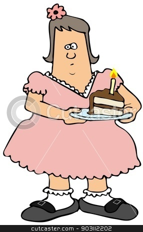 Chubby girl eating birthday cake stock photo, This illustration depicts a chubby girl in a pink dress holding a plate with a slice of birthday cake. by Dennis Cox