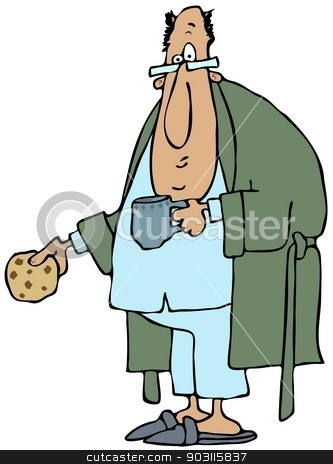 Man wearing robe and pajamas stock photo, This illustration depicts a man wearing a bathrobe and pajamas holding a coffee cup and cookie. by Dennis Cox