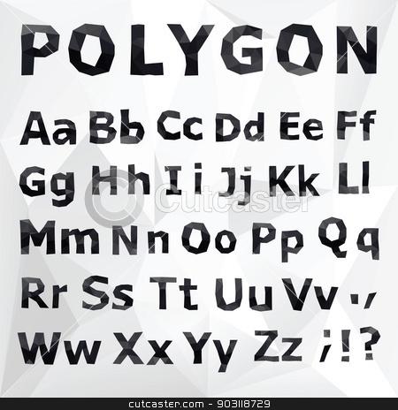 Alphabet. Polygonal font set.