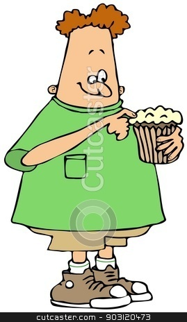 Boy eating a cupcake stock photo, This illustration depicts a chubby boy eating a cupcake. by Dennis Cox