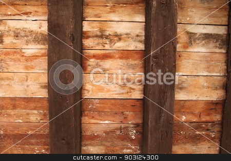 Wooden Ceiling stock photo, Old brown wooden ceiling with dark beams. by Henrik Lehnerer