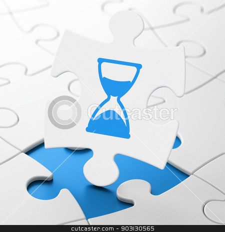 Time concept: Hourglass on puzzle background stock photo, Time concept: Hourglass on White puzzle pieces background, 3d render by mkabakov