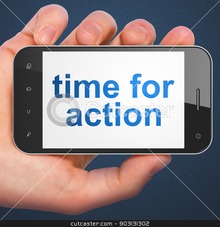 Time concept: Time for Action on smartphone stock photo, Time concept: hand holding smartphone with word Time for Action on display. Mobile smart phone on Blue background, 3d render by mkabakov