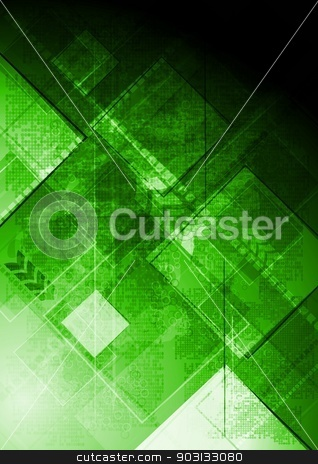 Green tech background stock vector clipart, Hi-tech vector background. Eps 10 by saicle