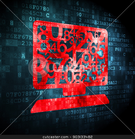 Education concept: Computer Pc on digital background stock photo, Education concept: pixelated Computer Pc icon on digital background, 3d render by mkabakov