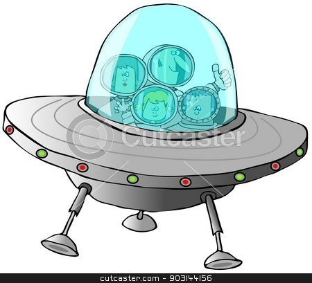Family in a flying saucer stock photo, This illustration depicts a family wearing spacesuits riding in a flying saucer. by Dennis Cox