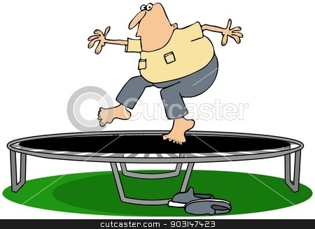 Man jumping on a trampoline stock photo, This illustration depicts a man jumping on a trampoline. by Dennis Cox