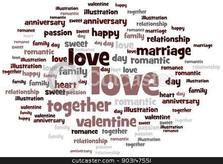 Love stock photo, Love word and tag cloud on white background. by Henrik Lehnerer