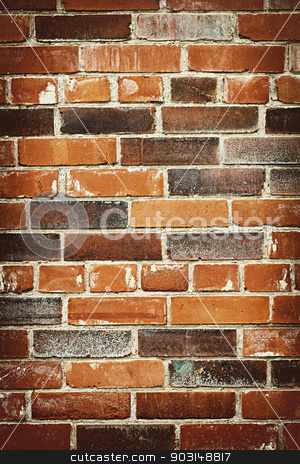 Brick wall background stock photo, Red and brown brick background of grungy wall by Elena Elisseeva
