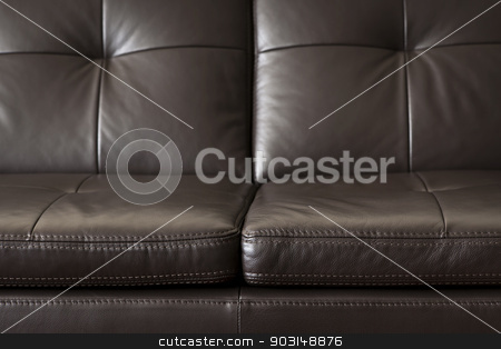 Leather sofa close up stock photo, Closeup of luxurious expensive brown leather couch by Elena Elisseeva