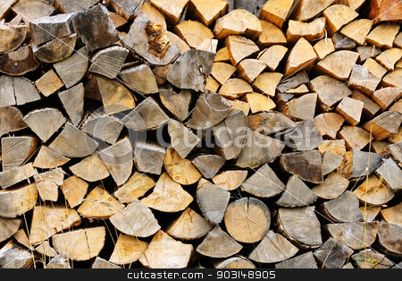 Firewood stock photo, Background of chopped and split firewood logs stacked by Elena Elisseeva