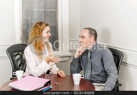 Real estate agent talking to client stock photo, Female real estate agent talking to new home owner in office meeting room by Elena Elisseeva