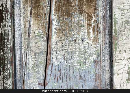 Old painted distressed wood background stock photo, Background of old aged wood boards with peeling paint by Elena Elisseeva