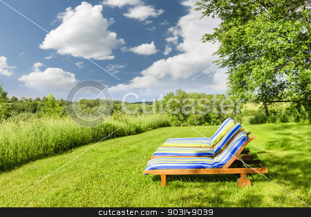 Summer relaxing stock photo, Two wooden outdoor lounge chairs on lush green lawn with trees by Elena Elisseeva