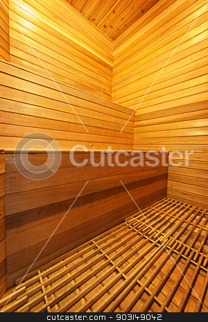 Sauna interior stock photo, Finnish home sauna interior with wooden bench walls and floor by Elena Elisseeva