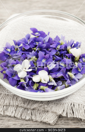 Edible violets in bowl stock photo, Foraged edible purple and white violet flowers in bowl by Elena Elisseeva