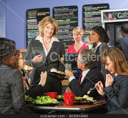 Apologetic Cafe Owner stock photo, Restaurant owner with group of unhappy customers by Scott Griessel
