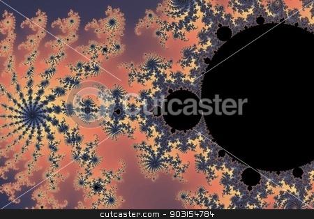Fractal Mandelbrot stock photo, Mandelbrot fractal in the colors of purple golden yellow blue. by Henrik Lehnerer