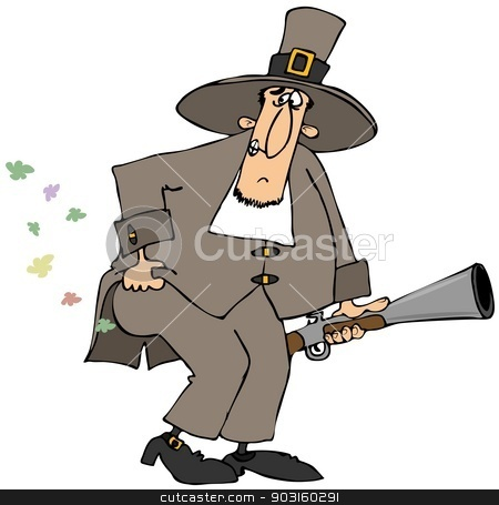 Pilgrim farts stock photo, This illustration depicts a Pilgrim carrying a blunderbuss gun and lifting his coat to let out some flatulence. by Dennis Cox
