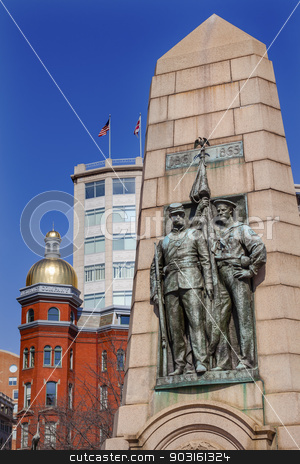 Grand Army Republic Civil War Memorial Pennsylvania Avenue Washi stock photo, Grand Army of the Republic Memorial (Stephenson), Civil War memorial, Golden Dome, Flags, Pennsylvania Avenue, Washington DC.  Dedicated on July 3, 1909; artist was J. Massey Rhind.  Grand Army Republic was Civil War Veterans Group of navy sailers and army soldiers. by William Perry