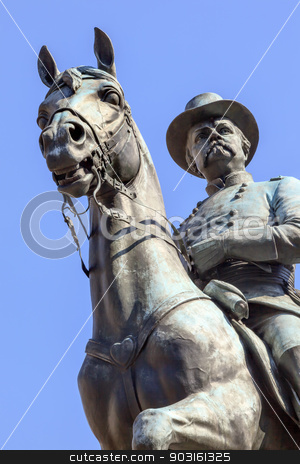 General Winfield Scott Hancock Equestrian Statue Civil War Memor stock photo, General Winfield Scott Hancock Equestrian Statue Civil War Memorial Pennsylvania Avenue Washington DC.  Created by Henry Ellicot and dedicated in 1896. by William Perry