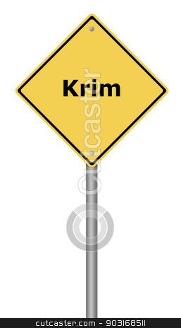 Warning Sign Krim stock photo, Yellow warning sign with the text Krim. by Henrik Lehnerer
