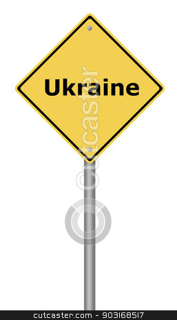 Warning Sign Ukraine stock photo, Yellow warning sign with the text Ukraine. by Henrik Lehnerer