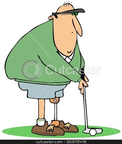 Golfer with an artificial leg stock photo, This illustration depicts a golfer standing on an artificial leg. by Dennis Cox