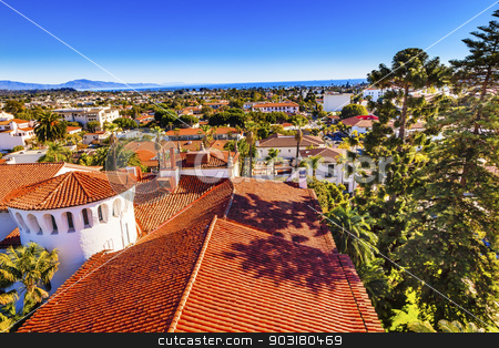 Court House Orange Roofs Buildings Pacific Ocean Santa Barbara C stock photo, Court House Buildings Orange Roofs Pacific Oecan Santa Barbara California  by William Perry