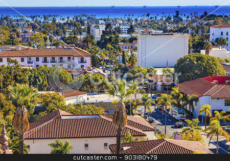 Offshore Platforms Courthouse Main Street Orange Roofs Buildings stock photo, Offshore Platforms Court House Orange Roof Buildings Coastline Main Street Pacific Oecan Santa Barbara California  by William Perry