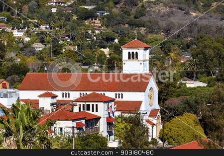 White Adobe Methodist Church Cross Santa Barbara alifornia  stock photo, White Abobe Methodist Church Cross Steeple Bell Santa Barbara California. by William Perry