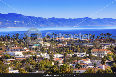 Buildings Coastline Pacific Ocean Santa Barbara California stock photo, Orange Roofs Buildings Coastline Pacific Oecan Santa Barbara California  by William Perry