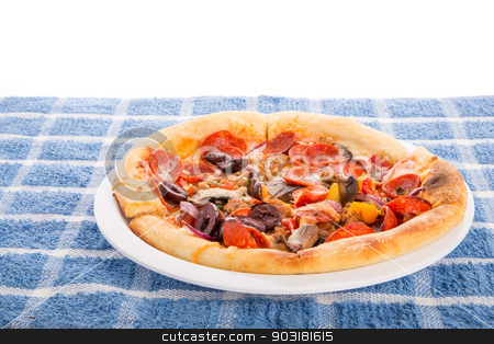 Deluxe Individual Pizza stock photo, A single serve deluxe pizza on a white  plate by Darryl Brooks