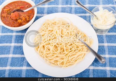 Spaghetti Noodles Ready for Sauce stock photo, Spaghetti Noodles in plate with bolognese sauce and shaved parmesan cheese on the side by Darryl Brooks