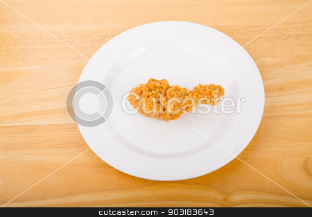 Chicken Leg on White Plate stock photo, A piece of fresh, crunchy fried chicken on a white plate by Darryl Brooks