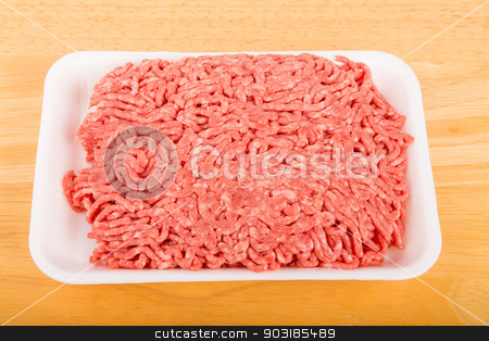 Fresh Ground Beef on Tray stock photo, Fresh ground beef in a polystyrene tray by Darryl Brooks