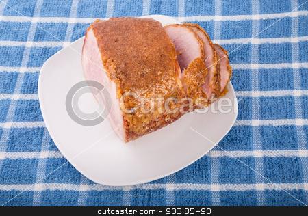 Honey Glazed Ham Sliced stock photo, Fresh Ham baked with sweet honey crust by Darryl Brooks