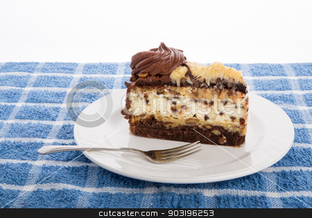 Chocolate Cheesecake stock photo, A slice of fresh, chocolate cheesecake on a white plate with fork by Darryl Brooks