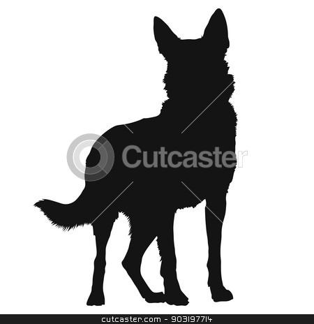 German Shepherd Silhouette stock vector clipart, A black silhouette of a standing German Shepherd by Maria Bell
