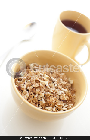 Breakfast cereal and coffee stock photo, Healthy bowl of muesli breakfast cereal served with mug of aromatic hot espresso coffee for an energising start to the day by Stephen Gibson
